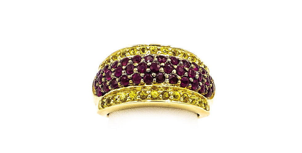 Yellow Gold Ruby And Yellow Diamond Dome Shape Prong Set Ring