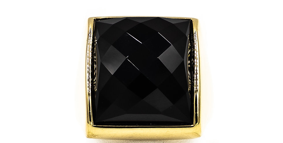 Yellow Gold Black Onyx Square With Facets Ring