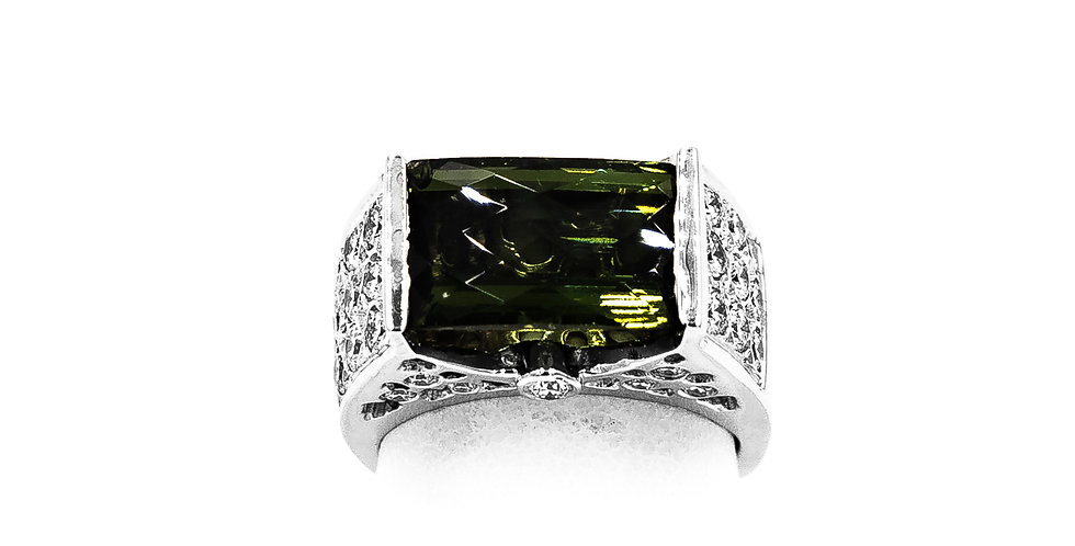 White Gold Green Tourmaline Tension Setting Emerald Shape Ring