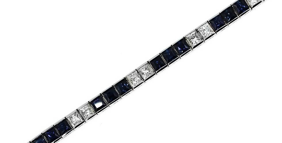 Classic White Gold Diamond/Sapphire Tennis Bracelet