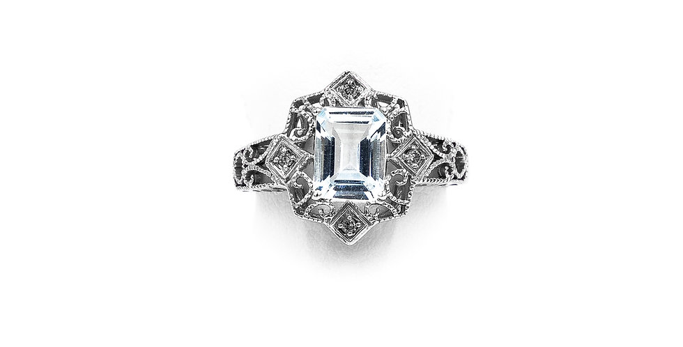 White Gold Emerald Shape Aquamarine In Filigree Setting Ring