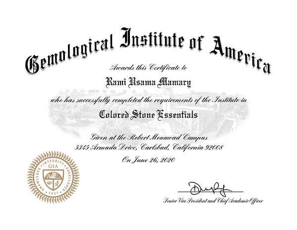 GIA Colored Stones Essentials Certificate - Rami Usama Mamary - Mamari Jewelers