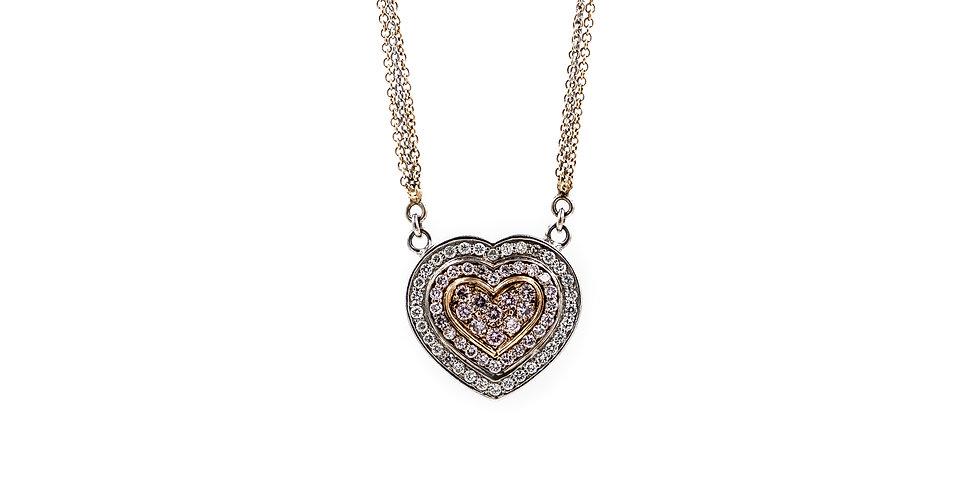 Classic Yellow/White Gold Diamond Heart Necklace