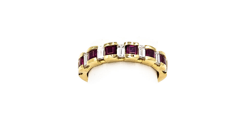 Yellow Gold Ruby Channel Princess And Banquet Cut Ring