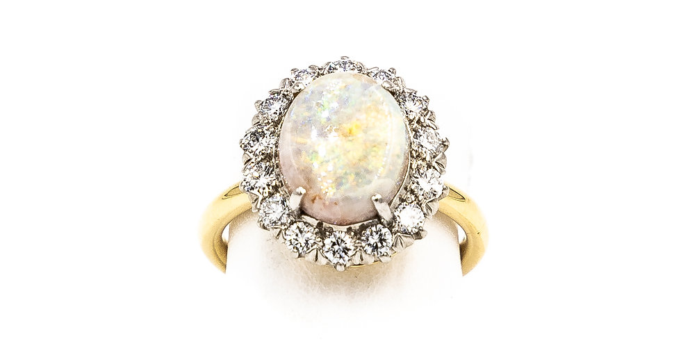 Yellow Gold Oval Opal Diamond Halo Ring