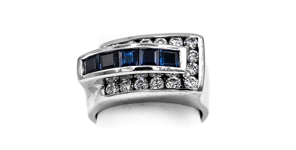 White Gold Diamond & Sapphire Buckle Style Ring