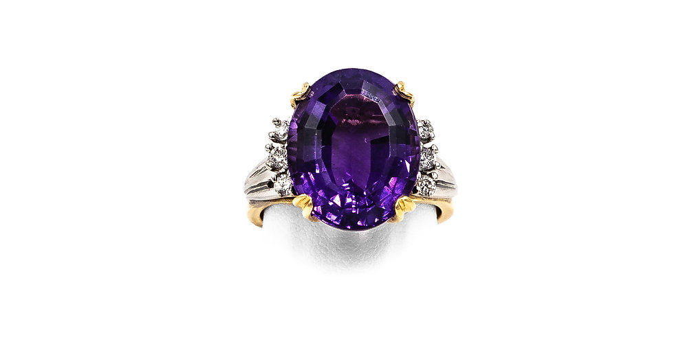 2 Tone Prong Mounting Oval Amethyst Ring