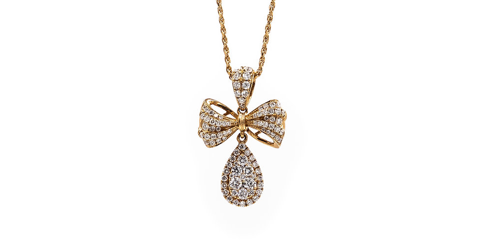 Rose Gold Micro Pave Clusters Bow Necklace