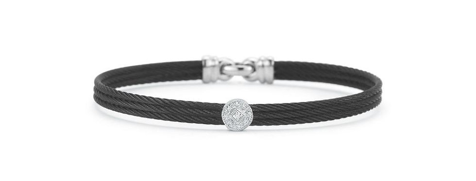 ALOR Noir Bangle Black Cable White Gold Stainless Steel and Diamond Station