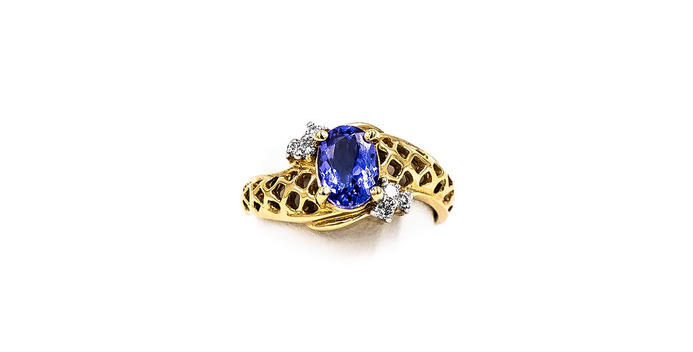 Yellow Gold Tanzanite With Two Stones Ring