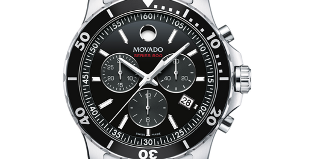 Movado Series 800 Chronograph Black Dial Stainless Steel Men's Watch 2600142