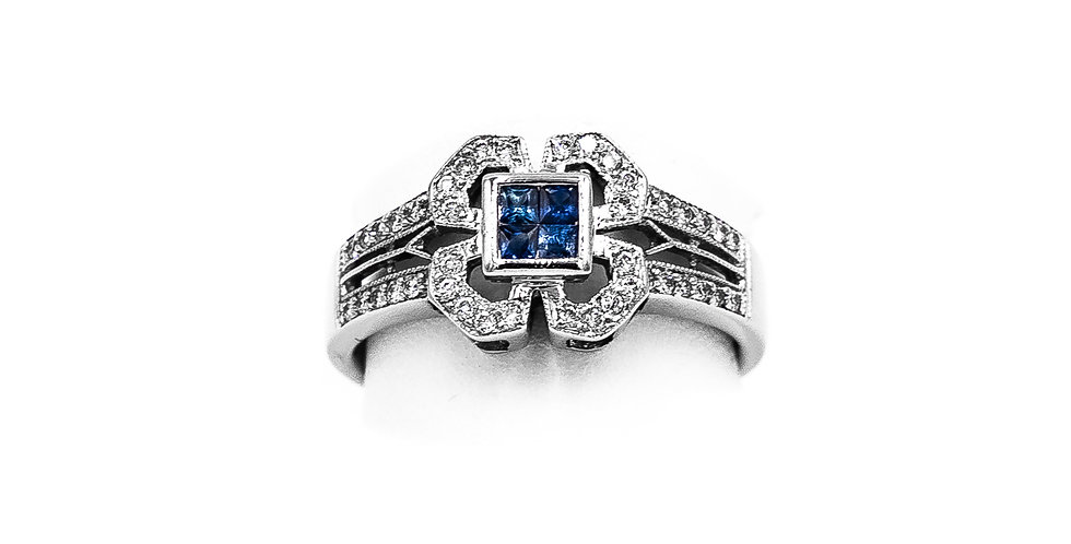 White Gold Bezel Set Filigree Style Ring