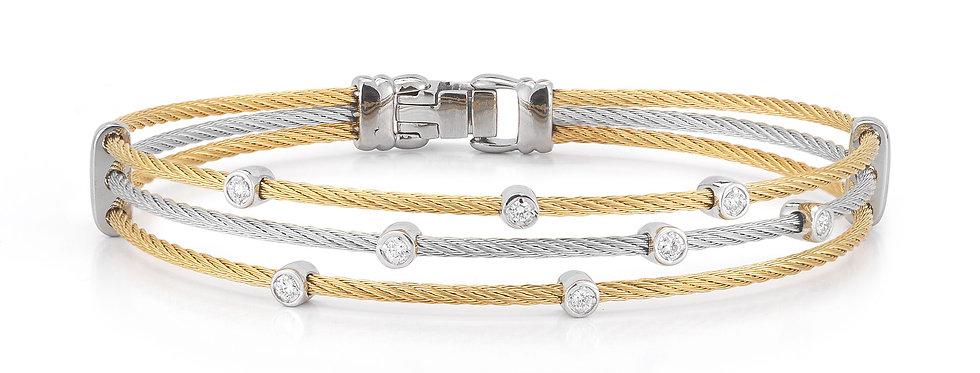 Yellow & Grey Cable Triple Strand Bracelet Ref. 04-34-S386-11