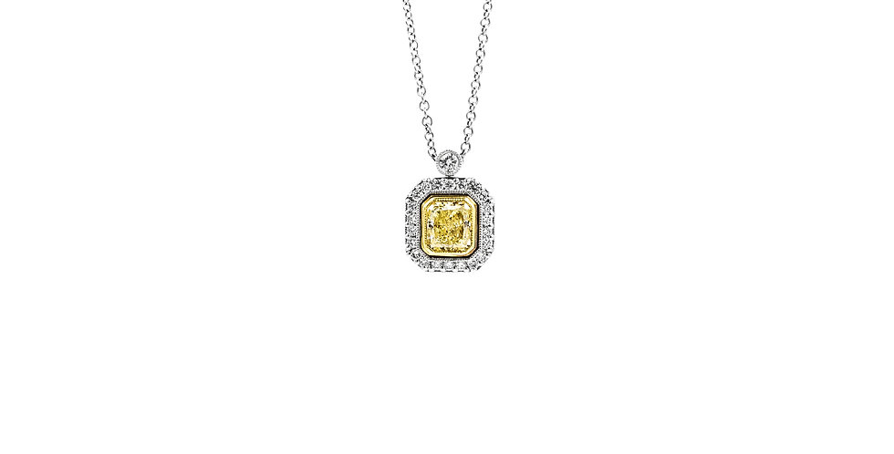 Classic White Gold Yellow Diamond Halo Necklace