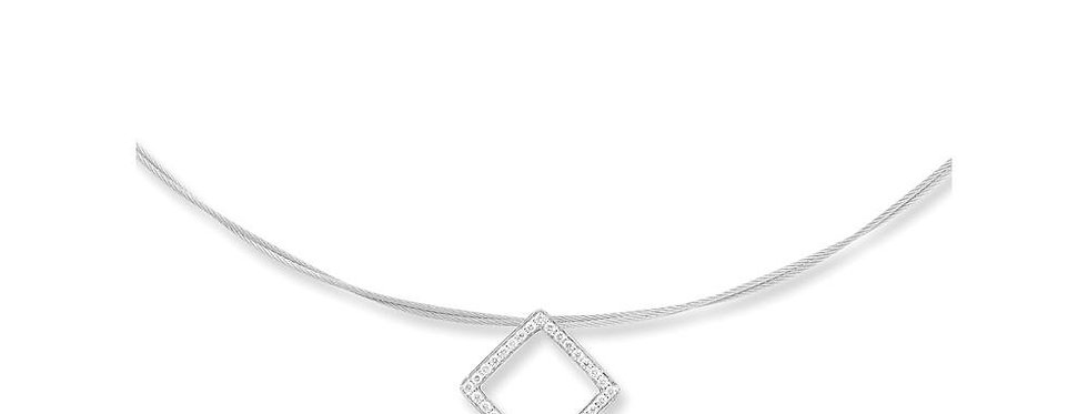 ALOR Grey Cable Necklace With White Gold Diamond Pendant 08-32-S734-11