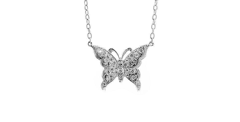 Classic White Gold Diamond Butterfly Necklace