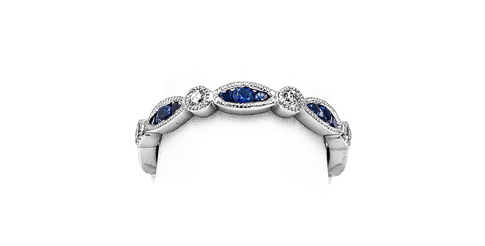 White Gold Diamond Sapphire Marquee & Round Eternity Ring