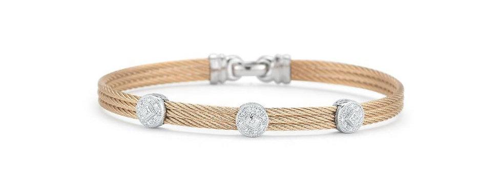 ALOR Classique Bangle 18k Rose Gold Triple Diamond Station 04-35-S832-11