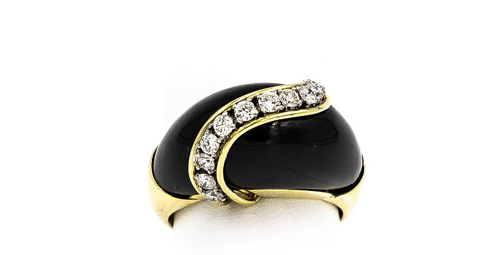 Yellow Gold Black Enamel Dome Bar Diamond Ring