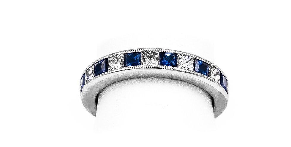 White Gold Sapphire Princess Cut Ring