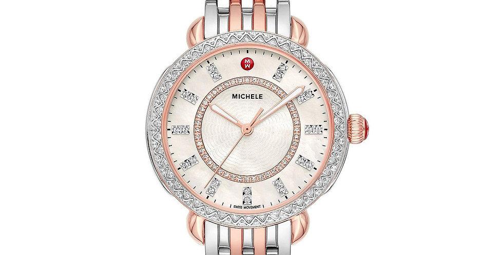 Michele Sidney Classic Two-Tone Pink Gold Diamond Watch MWW30B000003