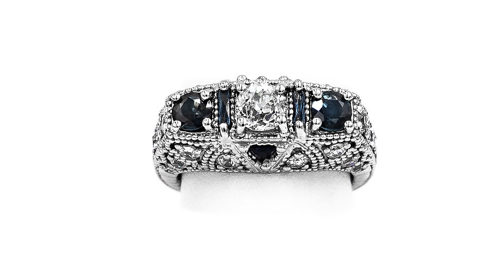 White Gold Diamond Sapphire Pave Antique Ring