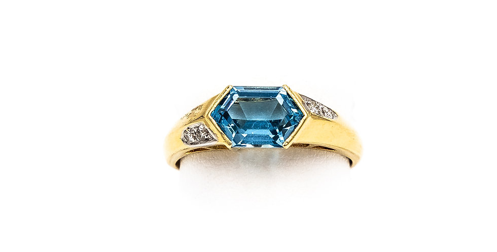 Yellow Gold Blue Topaz Tension Set Ring