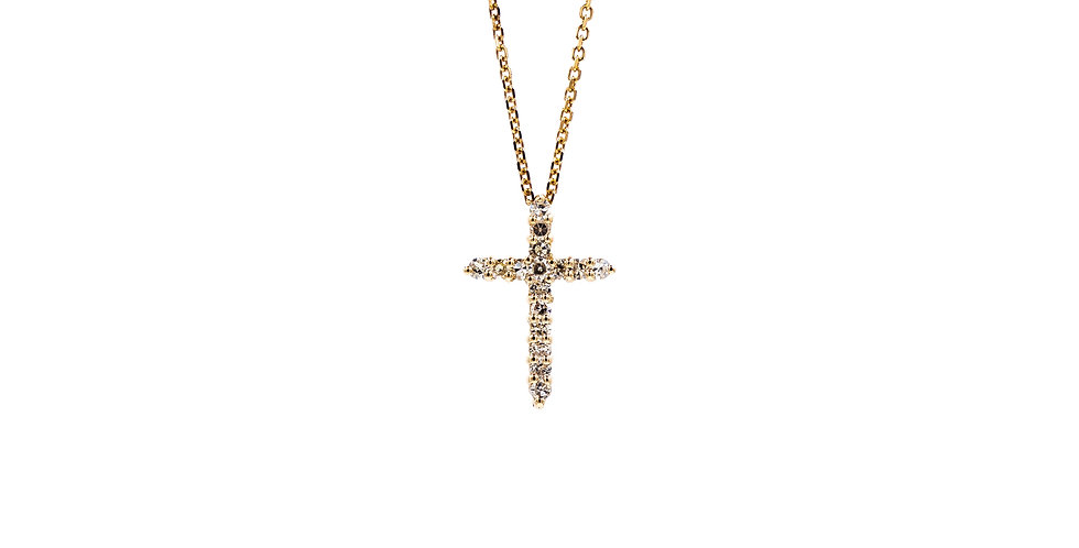 Rose Gold Prong Set Cross Necklace