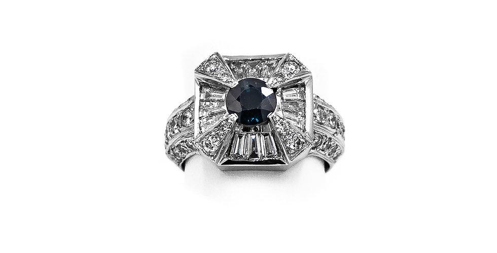 White Gold Square Diamond Halo Sapphire Center Ring