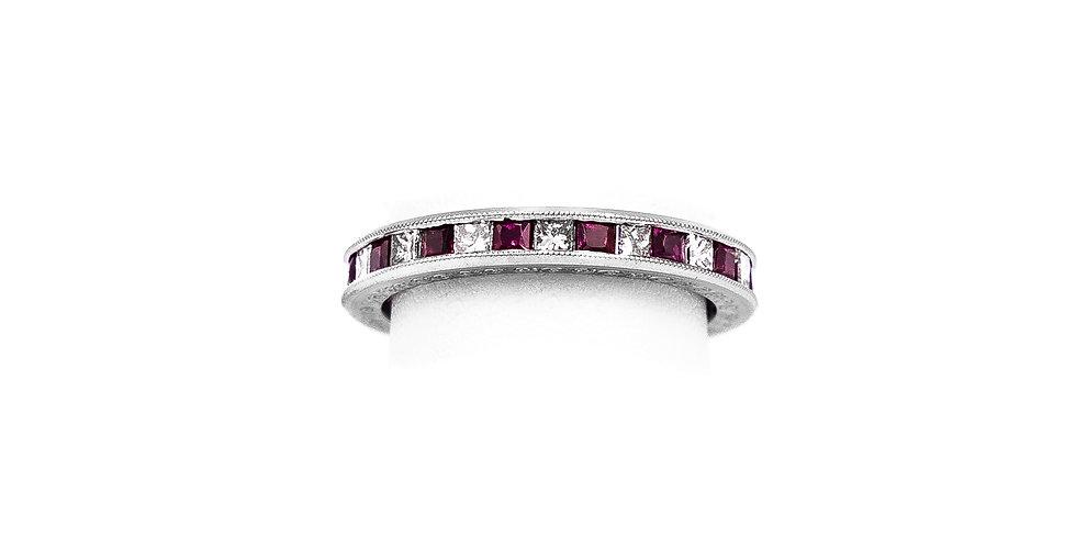 White Gold Diamond Channel Eternity Princess Ring