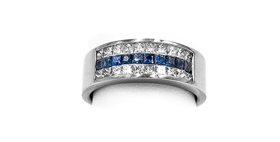 White Gold Sapphire Diamond 3 Rows Invsible Set Ring