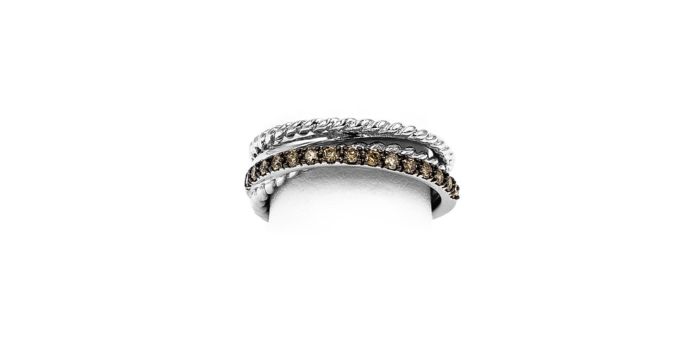 White Gold Champagne Diamonds Triple Rope Design Ring