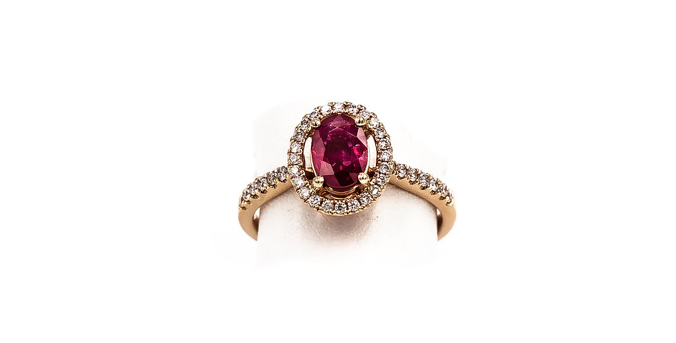 Rose Gold Oval Ruby Halo Micro Pave Set Ring