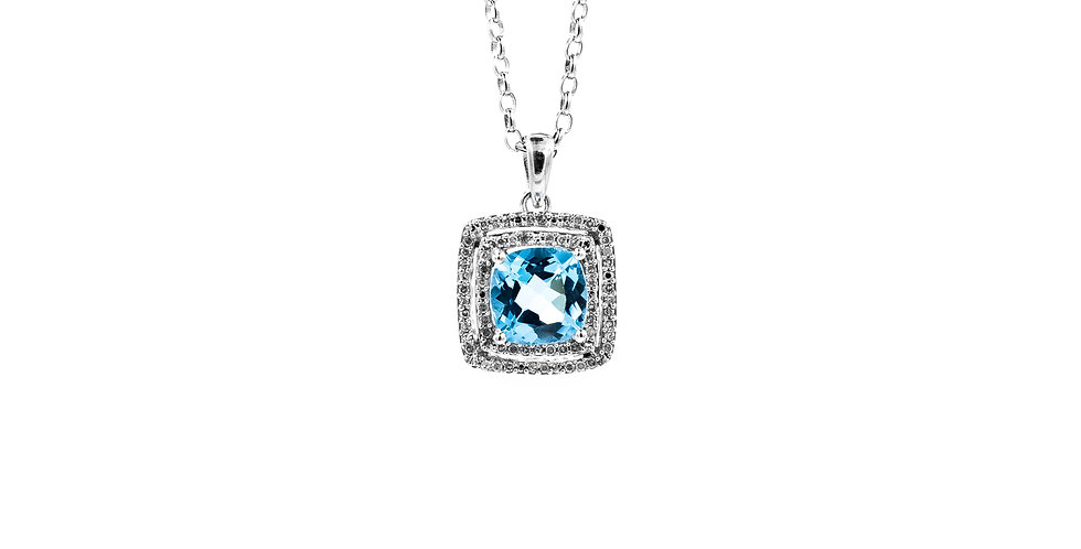 White Gold Blue Topaz Double Halo Roller Chain Necklace