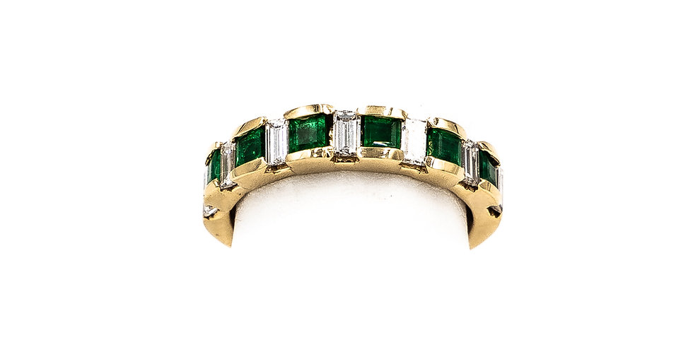 Yellow Gold 6 Stone Emerald Baguette Diamond Ring