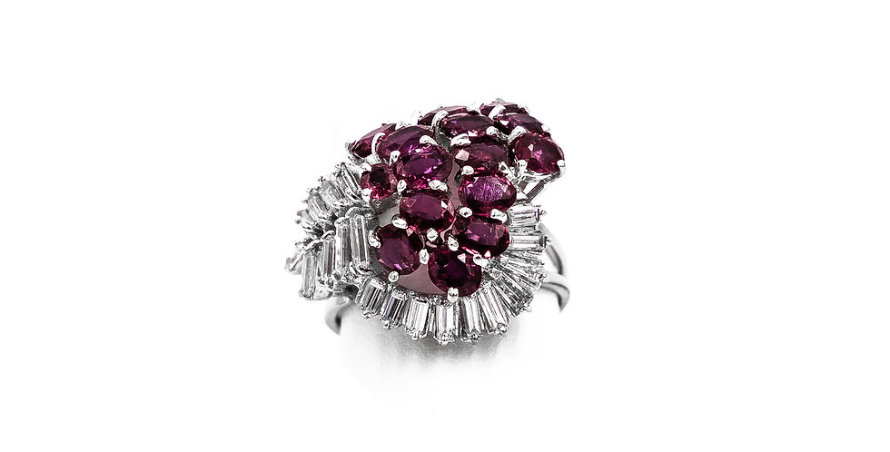 White Gold Diamond Rubies Cluster Ring