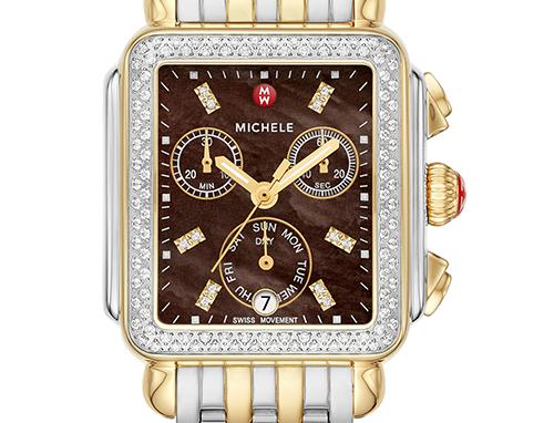 Michele Signature Deco Two-Tone Diamond Watch MWW06P000108