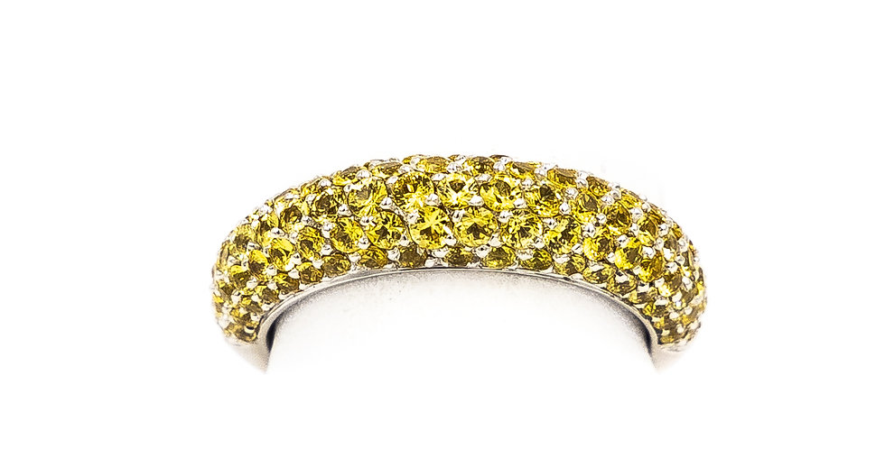 White Gold Yellow Sapphire Set In A Dome Pave Band Ring