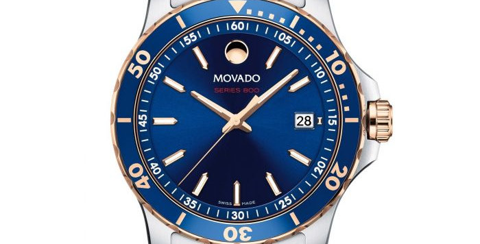 Movado Series 800 Blue Dial Rose Gold Tone Stainless Steel Watch 2600149