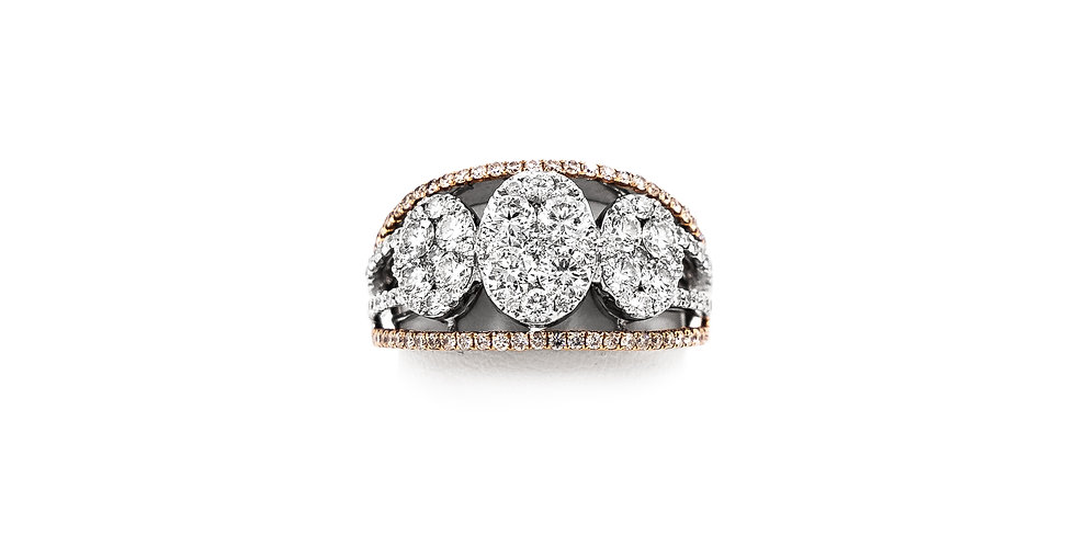 Rose Gold Two Tone 3 Oval Clusters Diamond Ring