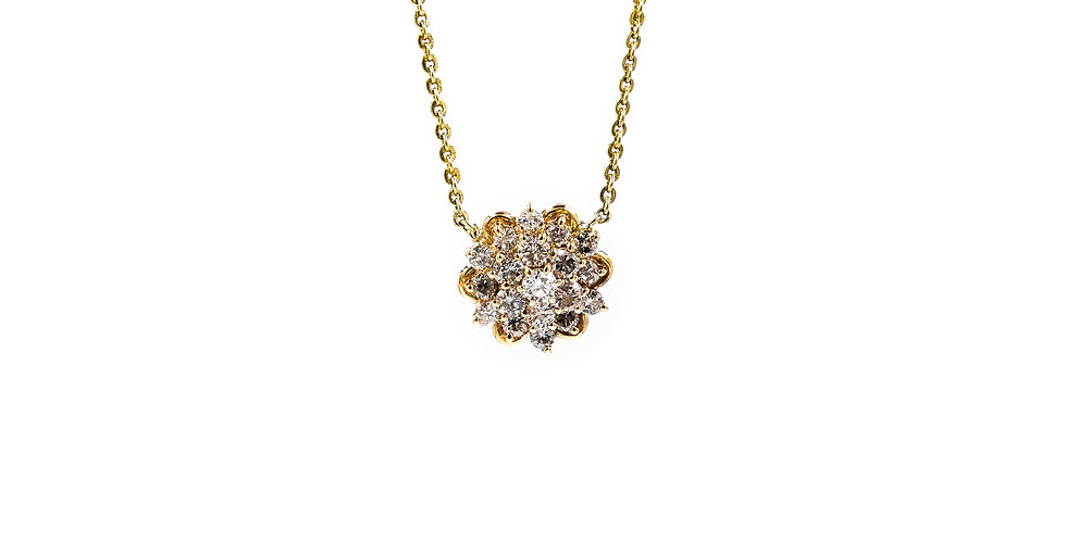 Yellow Gold Cluster Diamond Necklace