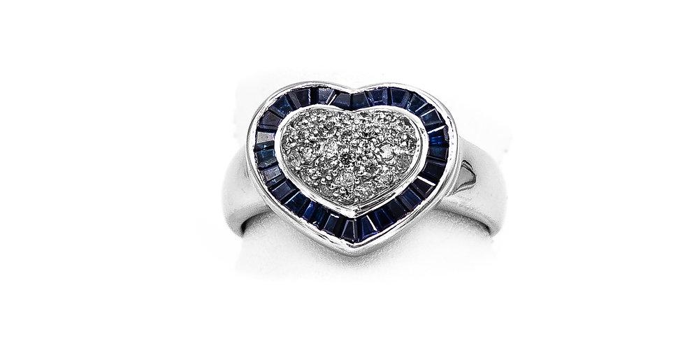 White Gold Diamond Sapphire Heart Shape Ring