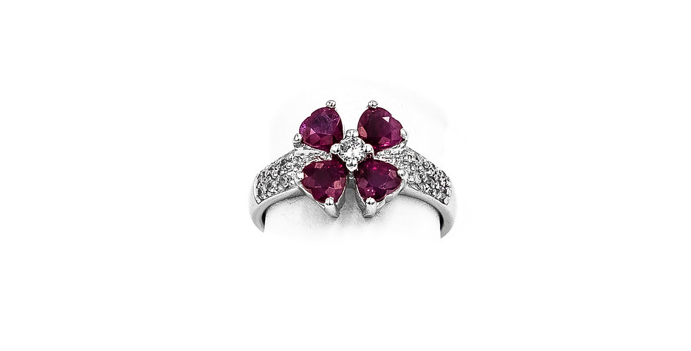 White Gold Diamond Ruby Flower Pave Dome Shank Ring