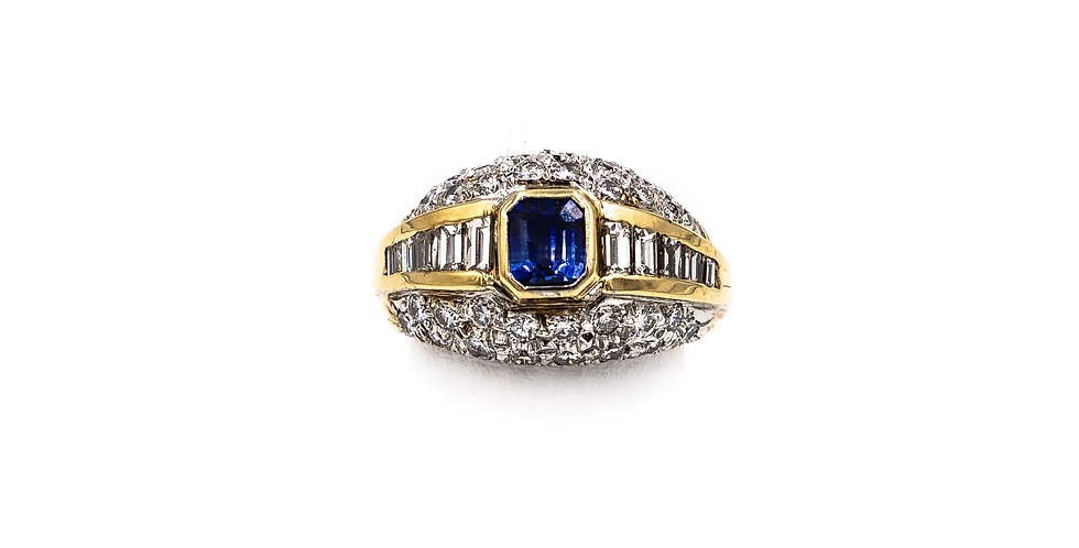 Yellow Gold Emerald Sapphire Banquet Channel Pave Ring
