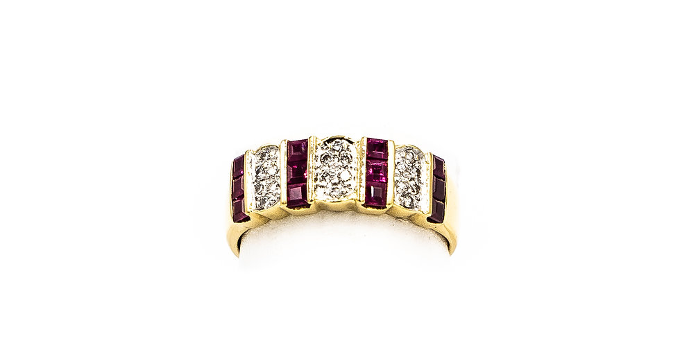 Yellow Gold Ruby Princess Channel Pave Diamonds Ring