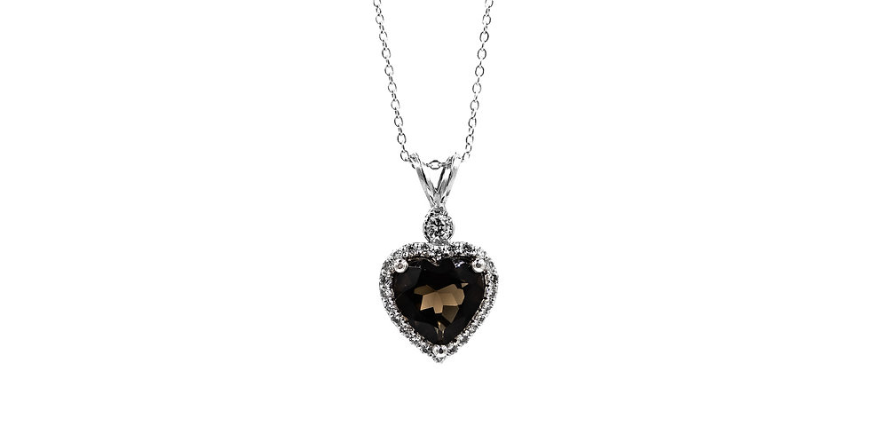 Classic White Gold Topaz Heart Necklace