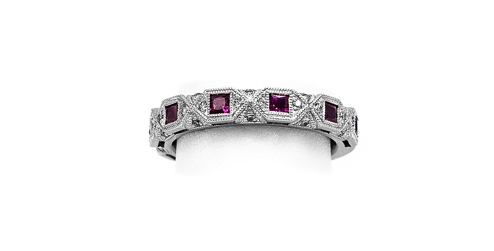 White Gold Ruby Princess Antique Ring