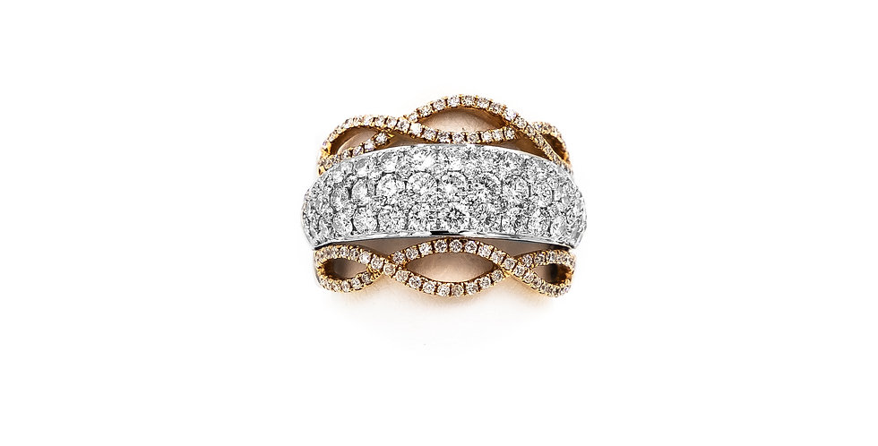 White Gold Two Tone Rose Gold Wide Open Work Set Micro Pave Ring