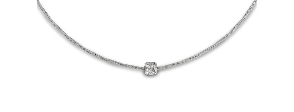 Grey Micro Cable Necklace with Single Square Station set in 18kt White Gold