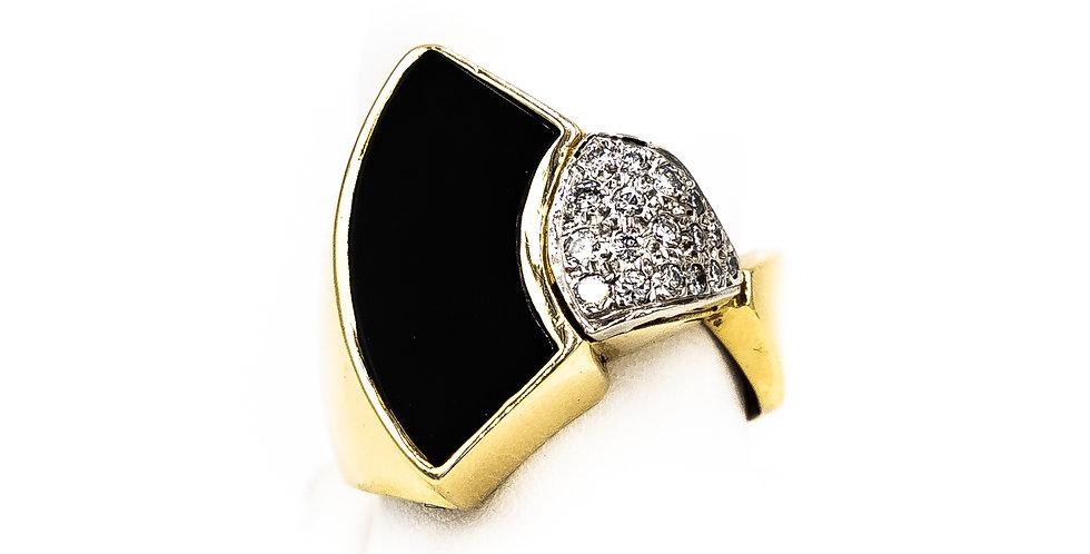 Yellow Gold Black Onyx Fan Design Pave Set Ring